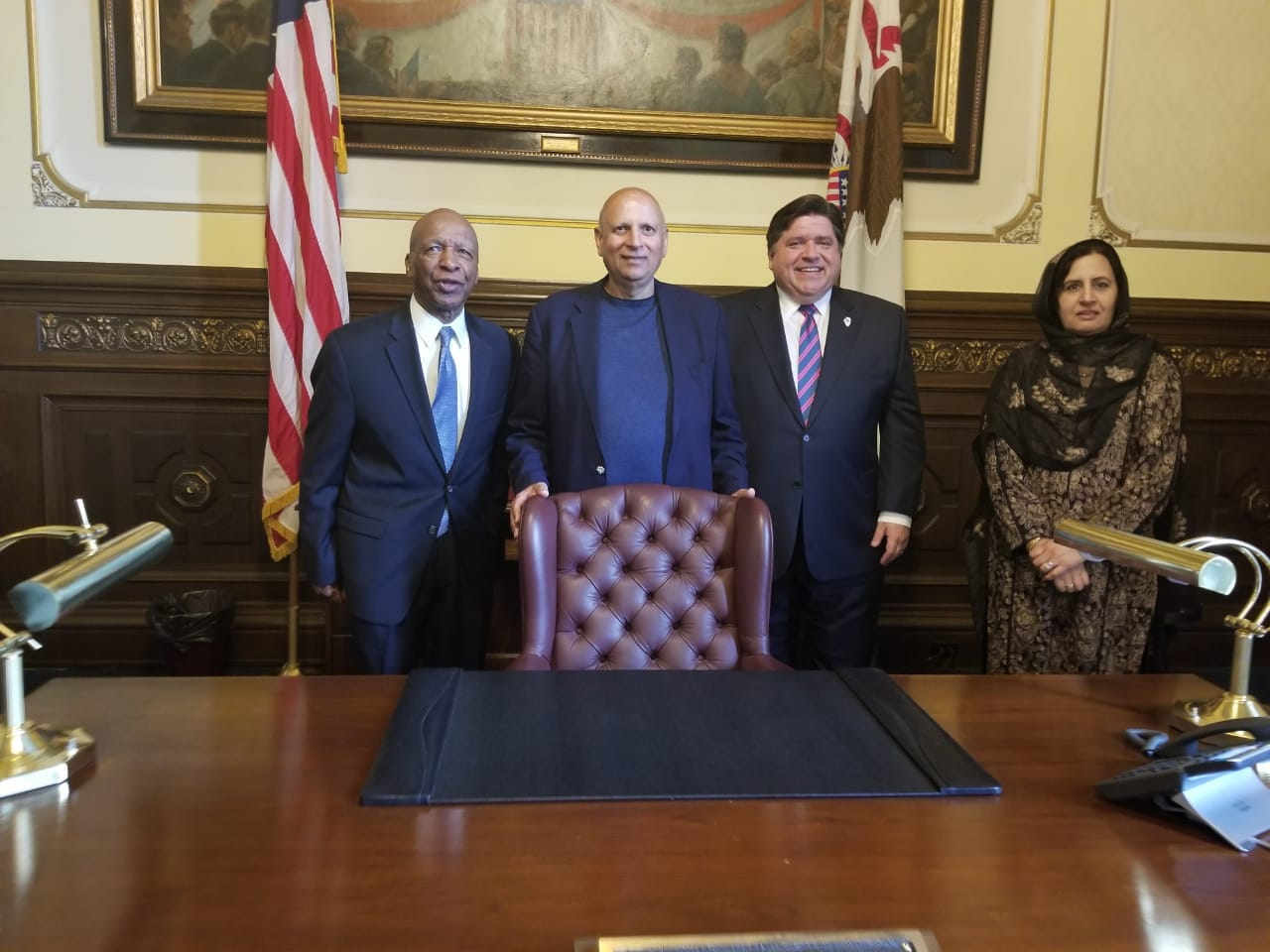 Jesse White Secretary Of State & Governor Mr J.B.Pritzker From State Of Illinois U.S.A